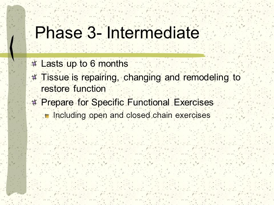 Phase 3- Intermediate Lasts up to 6 months Tissue is repairing, changing and remodeling to restore function Prepare for Specific Functional Exercises