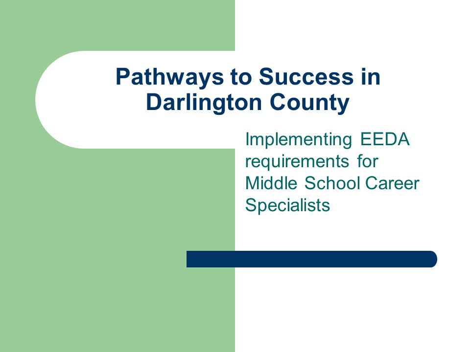 Pathways to Success in Darlington County Implementing EEDA requirements for Middle School Career Specialists