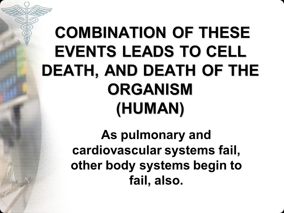 COMBINATION OF THESE EVENTS LEADS TO CELL DEATH, AND DEATH OF THE ORGANISM (HUMAN) COMBINATION OF THESE EVENTS LEADS TO CELL DEATH, AND DEATH OF THE O