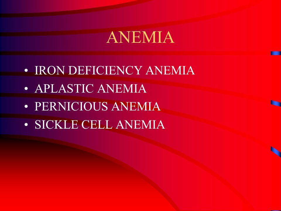 ANEMIA INADEQUATE NUMBER OF ERYTHROCYTES OR HEMOGLOBIN SYMPTOMS –PALLOR OR PALENESS –FATIGUE –DYSPNEA –RAPID HEART RATE