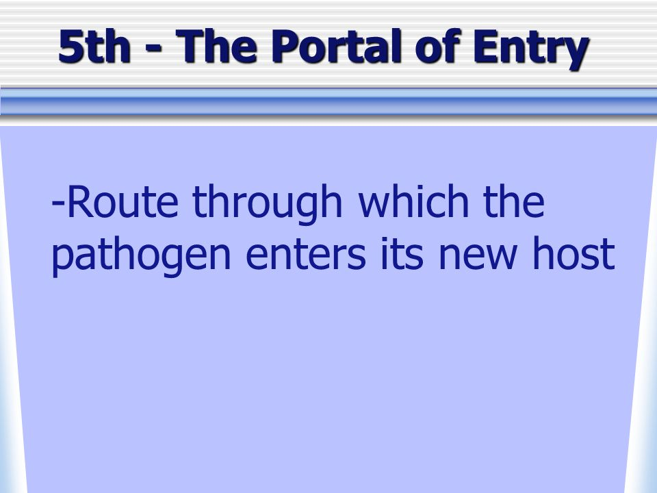 5th - The Portal of Entry -Route through which the pathogen enters its new host
