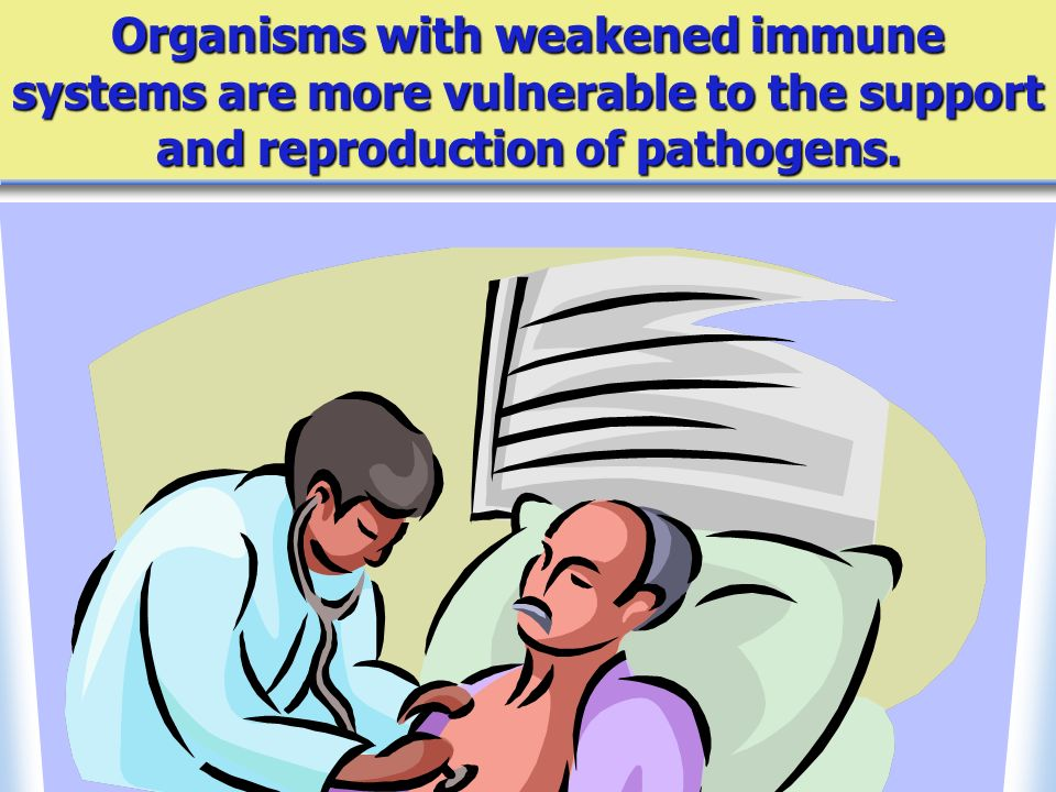 Organisms with weakened immune systems are more vulnerable to the support and reproduction of pathogens.