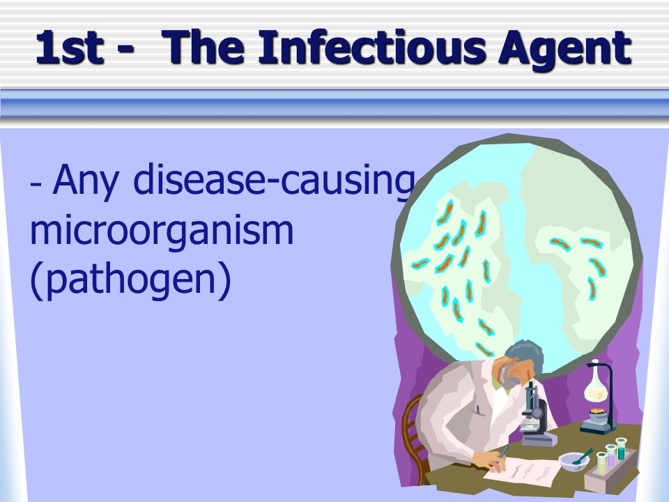 1st - The Infectious Agent - Any disease-causing microorganism (pathogen)