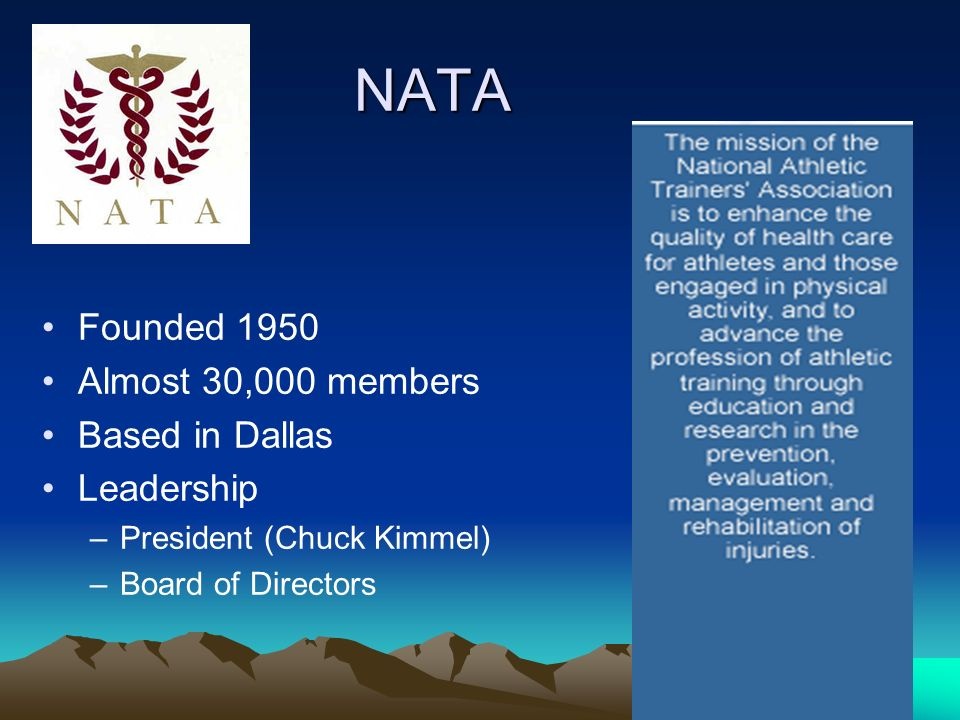 NATA Founded 1950 Almost 30,000 members Based in Dallas Leadership –President (Chuck Kimmel) –Board of Directors