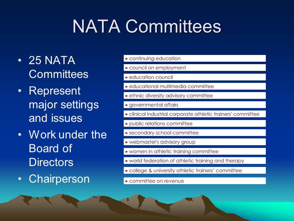 NATA Committees 25 NATA Committees Represent major settings and issues Work under the Board of Directors Chairperson NATAs various committees (currently more than 25) have many purposes, but they all share a common goal: to help carry out the work of NATA under the direction of the NATA Board of Directors.
