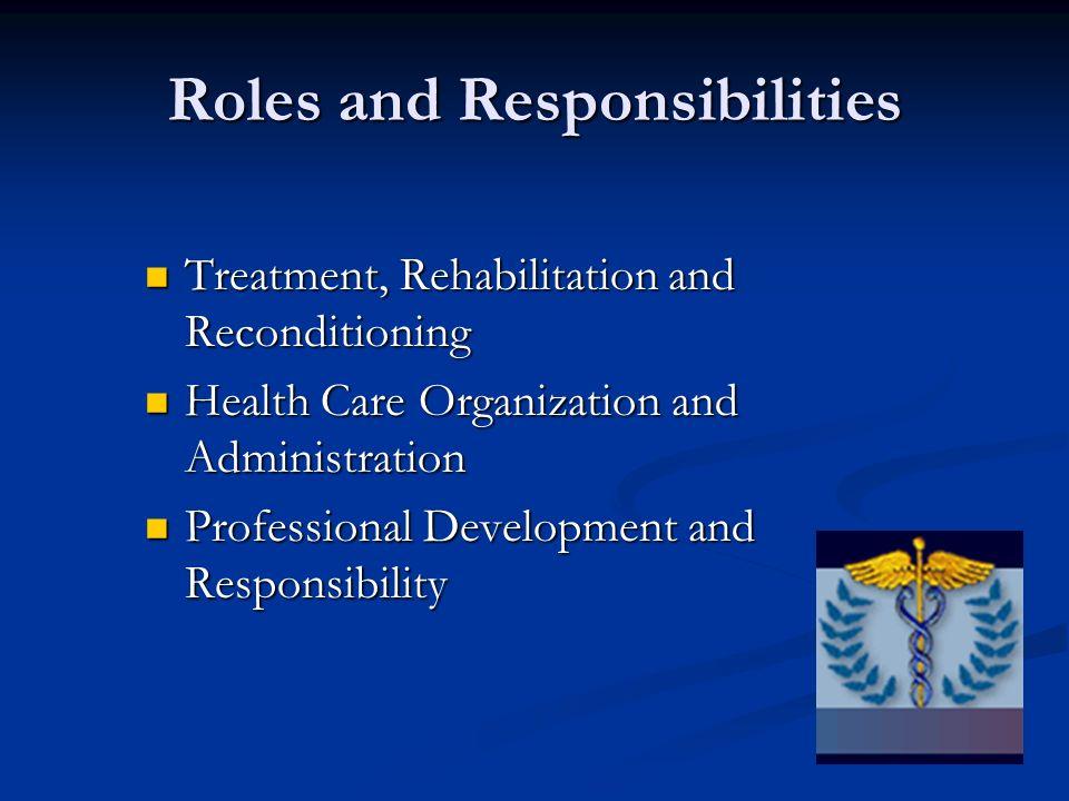 Roles and Responsibilities Treatment, Rehabilitation and Reconditioning Treatment, Rehabilitation and Reconditioning Health Care Organization and Admi