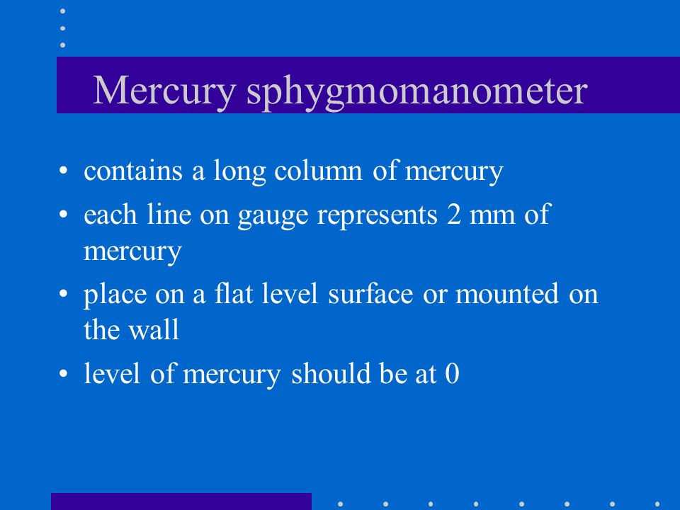 Types of sphygmomanometers Mercury Aneroid