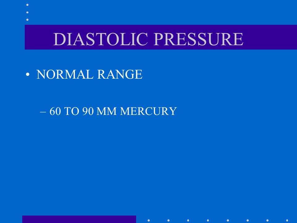 SYSTOLIC PRESSURE NORMAL RANGE –100 TO 140 MM MERCURY