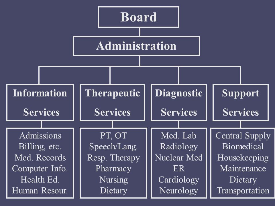 Board Administration Therapeutic Services Information Services Diagnostic Services Support Services Admissions Billing, etc. Med. Records Computer Inf