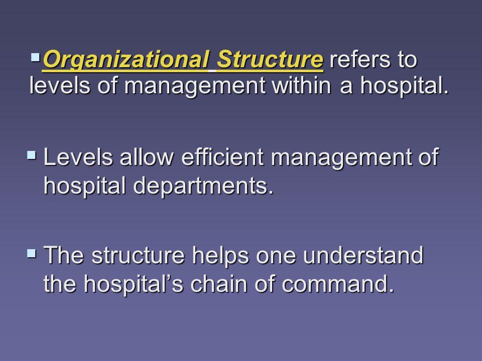 Levels allow efficient management of hospital departments. Levels allow efficient management of hospital departments. The structure helps one understa