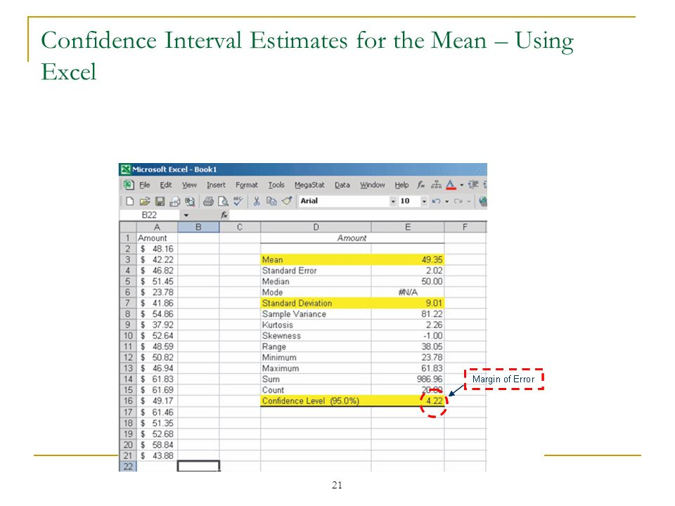 21 Confidence Interval Estimates for the Mean – Using Excel