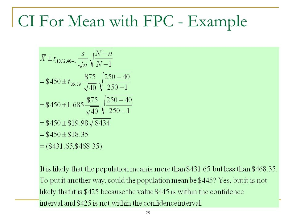 29 CI For Mean with FPC - Example