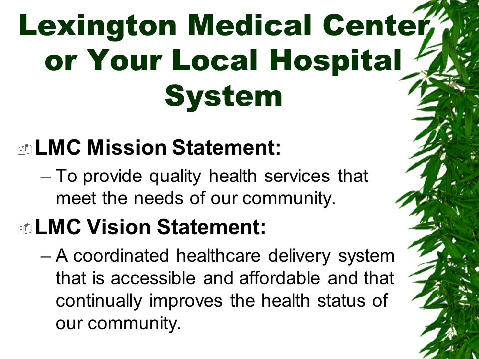 Lexington Medical Center or Your Local Hospital System LMC Mission Statement: –To provide quality health services that meet the needs of our community.