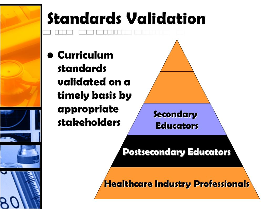 Standards Validation Curriculum standards validated on a timely basis by appropriate stakeholders Healthcare Industry Professionals Postsecondary Educ