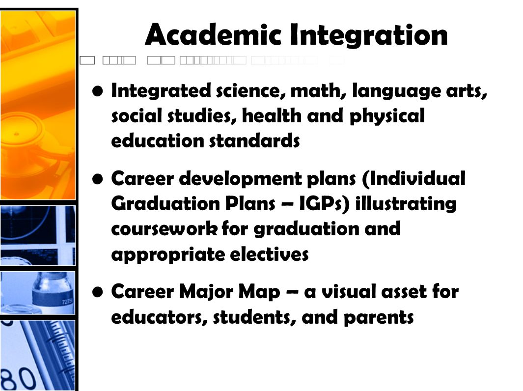 Academic Integration Integrated science, math, language arts, social studies, health and physical education standards Career development plans (Indivi