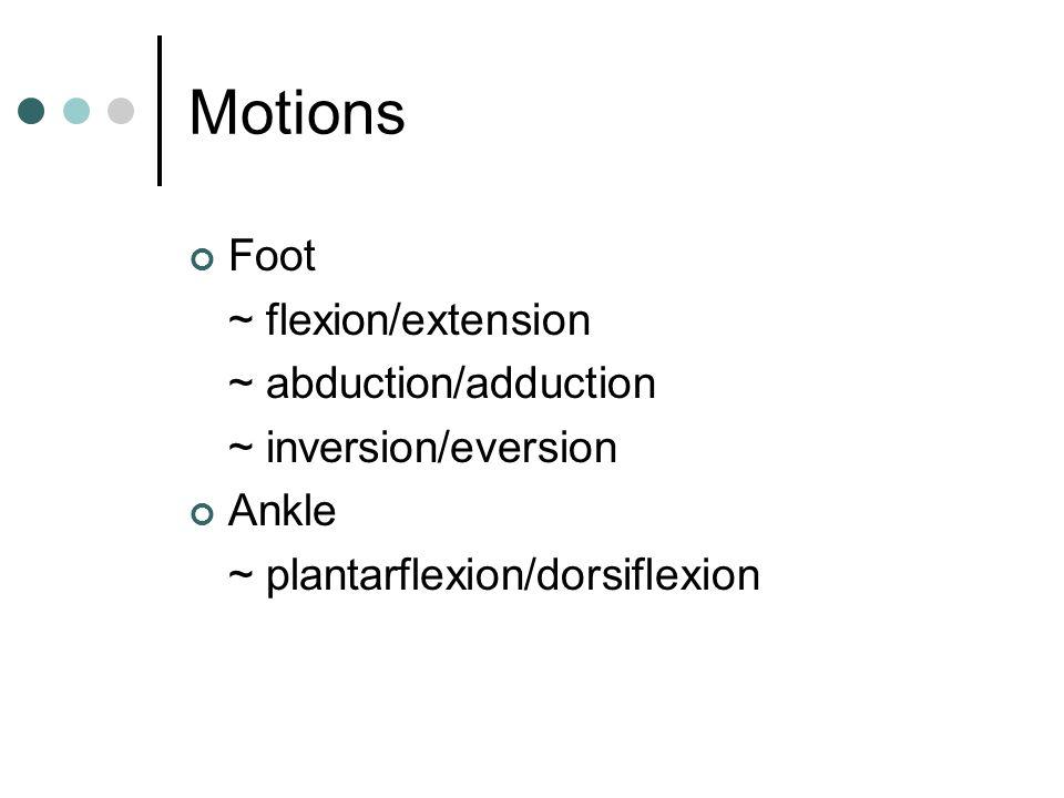 Motions Foot ~ flexion/extension ~ abduction/adduction ~ inversion/eversion Ankle ~ plantarflexion/dorsiflexion