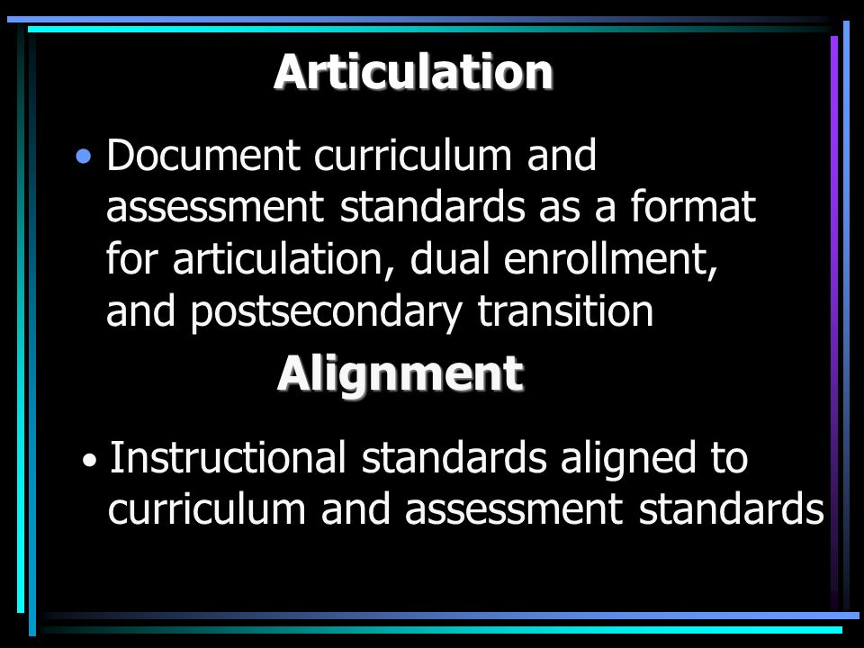 Articulation Document curriculum and assessment standards as a format for articulation, dual enrollment, and postsecondary transition Alignment Alignment Instructional standards aligned to curriculum and assessment standards