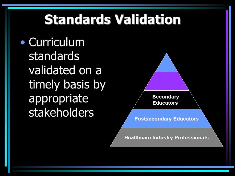 Standards Validation Curriculum standards validated on a timely basis by appropriate stakeholders Healthcare Industry Professionals Postsecondary Educators Secondary Educators