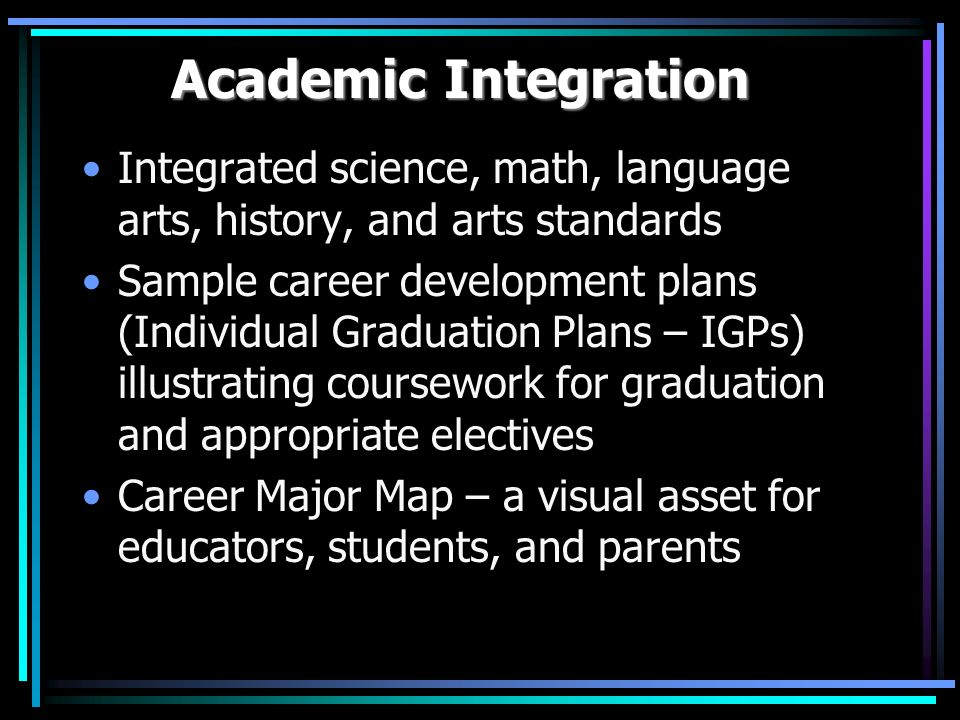 Academic Integration Integrated science, math, language arts, history, and arts standards Sample career development plans (Individual Graduation Plans – IGPs) illustrating coursework for graduation and appropriate electives Career Major Map – a visual asset for educators, students, and parents