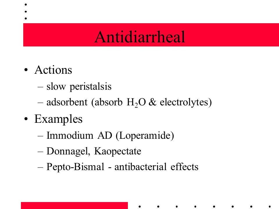 Antiemetics Action - decrease nausea & vomiting –various receptors in CNS to suppress nausea –coat the stomach & decrease irritation Examples –Phenergan (Promethazine HCl) –Benedryl (Diphenhydramine) –Dramamine (Dimehydinate) –Emetrol - Dextrose, Fructose, Phosphoric Acid –Marinol ????