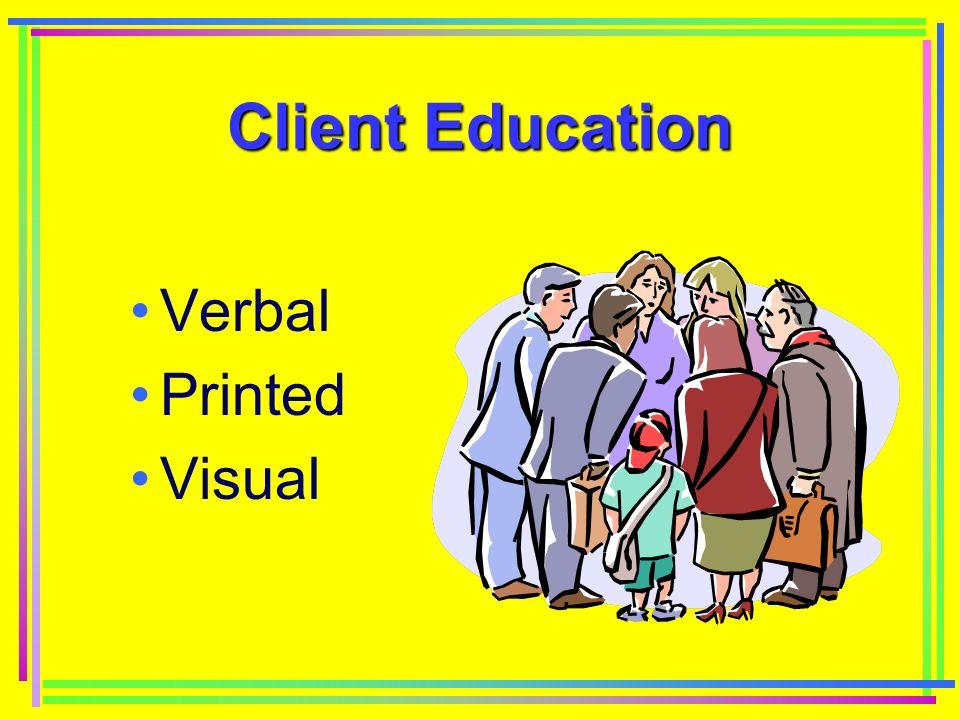 Client Education Verbal Printed Visual