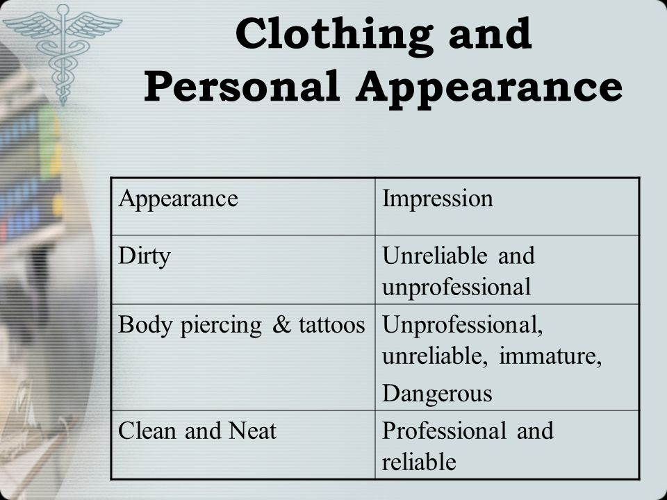 Clothing and Personal Appearance AppearanceImpression DirtyUnreliable and unprofessional Body piercing & tattoosUnprofessional, unreliable, immature,