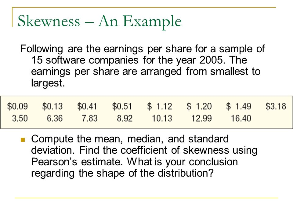 Skewness – An Example Following are the earnings per share for a sample of 15 software companies for the year 2005. The earnings per share are arrange
