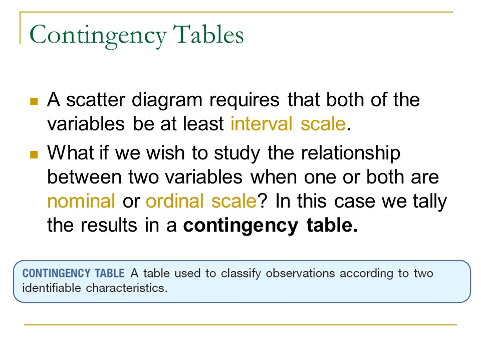 Contingency Tables A scatter diagram requires that both of the variables be at least interval scale. What if we wish to study the relationship between