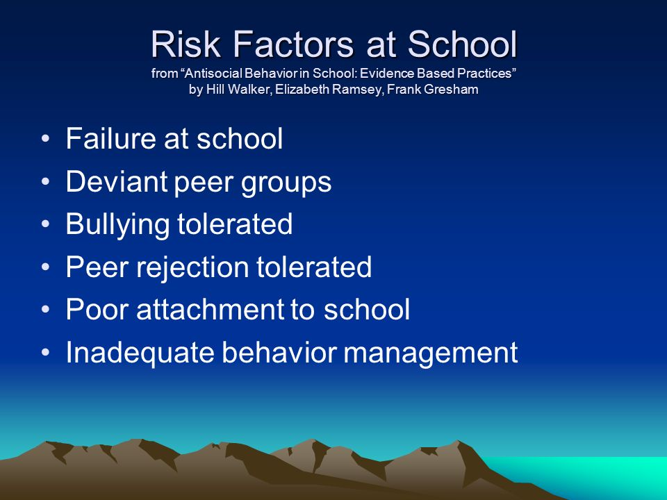 Risk Factors at School from Antisocial Behavior in School: Evidence Based Practices by Hill Walker, Elizabeth Ramsey, Frank Gresham Failure at school Deviant peer groups Bullying tolerated Peer rejection tolerated Poor attachment to school Inadequate behavior management