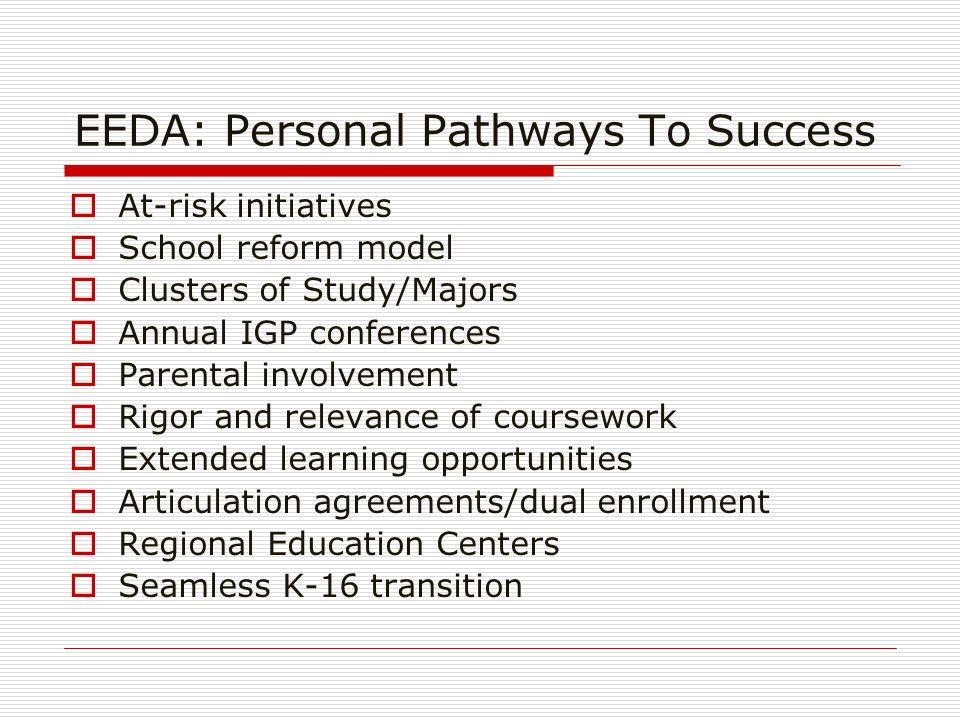EEDA: Personal Pathways To Success At-risk initiatives School reform model Clusters of Study/Majors Annual IGP conferences Parental involvement Rigor