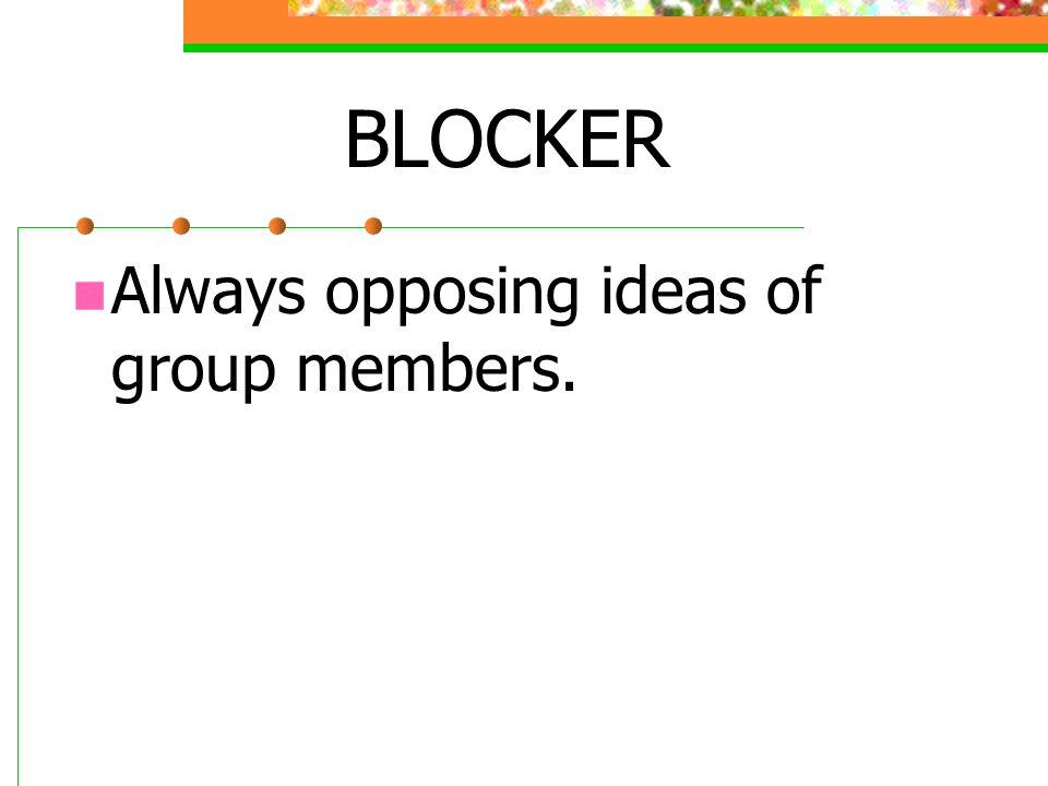 BLOCKER Always opposing ideas of group members.