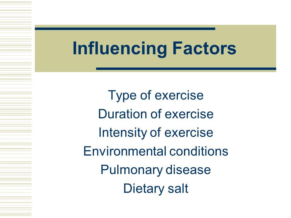 Influencing Factors Type of exercise Duration of exercise Intensity of exercise Environmental conditions Pulmonary disease Dietary salt