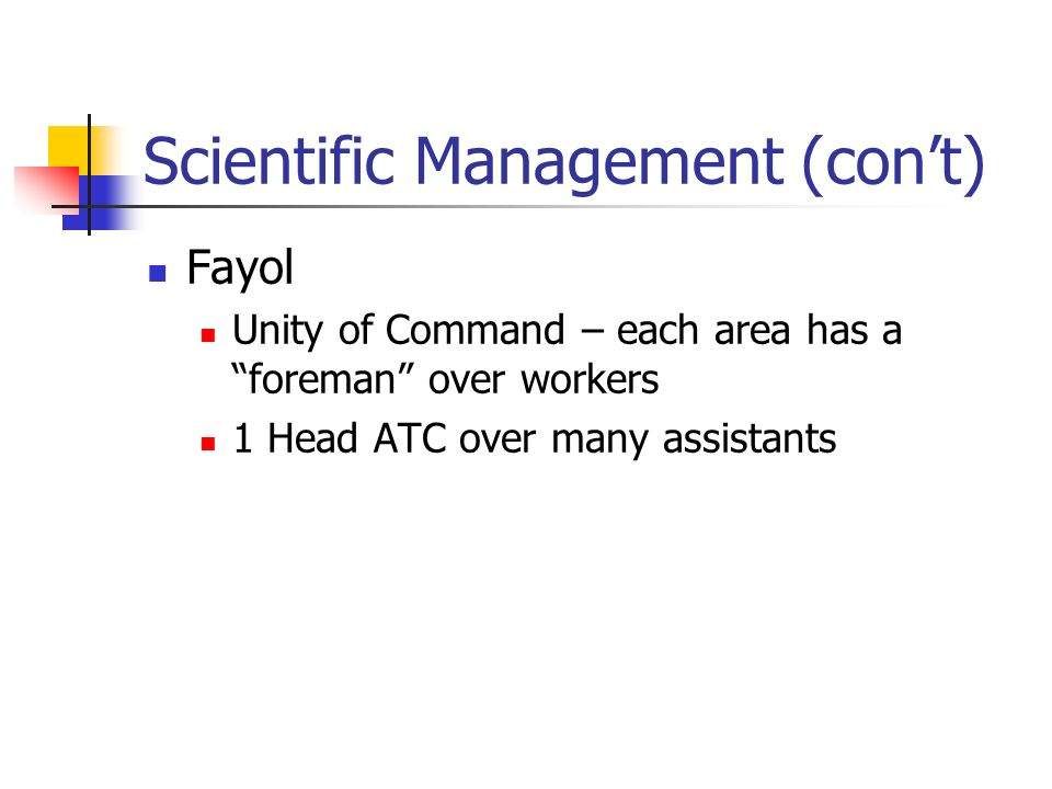 Scientific Management (cont) Fayol Unity of Command – each area has a foreman over workers 1 Head ATC over many assistants