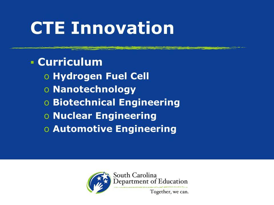 CTE Innovation (contd.) Curriculum o Aerospace Engineering o Biomedical Engineering o ICAR o Bioscience/Biofuel