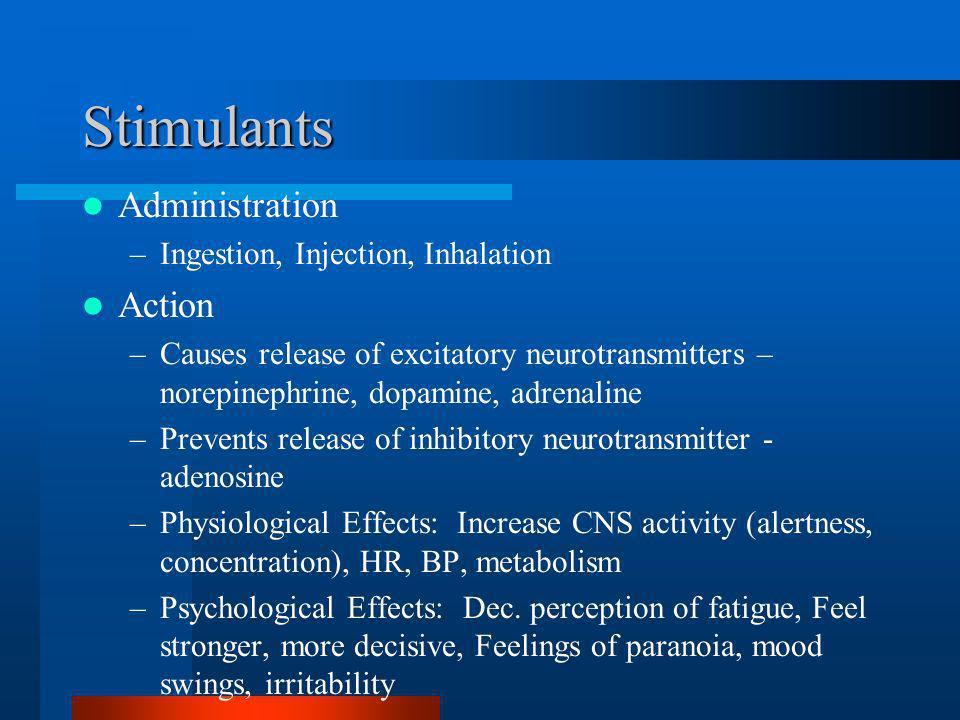 Stimulants Administration –Ingestion, Injection, Inhalation Action –Causes release of excitatory neurotransmitters – norepinephrine, dopamine, adrenal