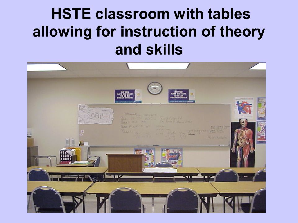 Regular classroom settings can be accommodated to teach the HSTE competencies.