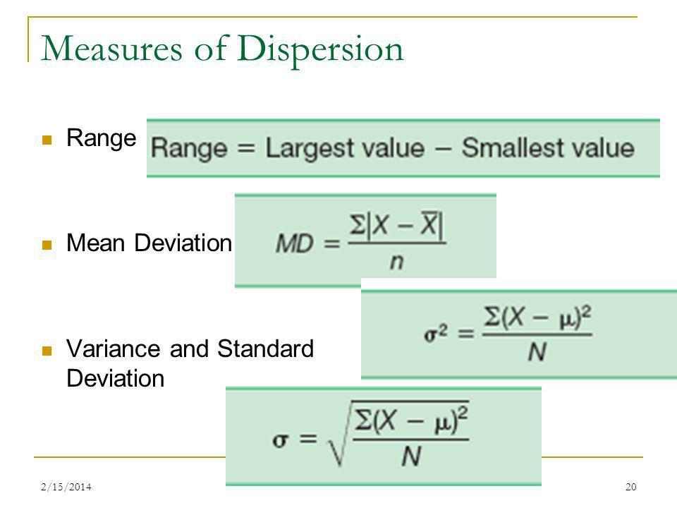 2/15/201420 Measures of Dispersion Range Mean Deviation Variance and Standard Deviation