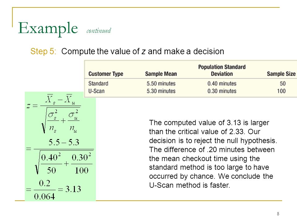 8 Example continued Step 5: Compute the value of z and make a decision The computed value of 3.13 is larger than the critical value of 2.33. Our decis