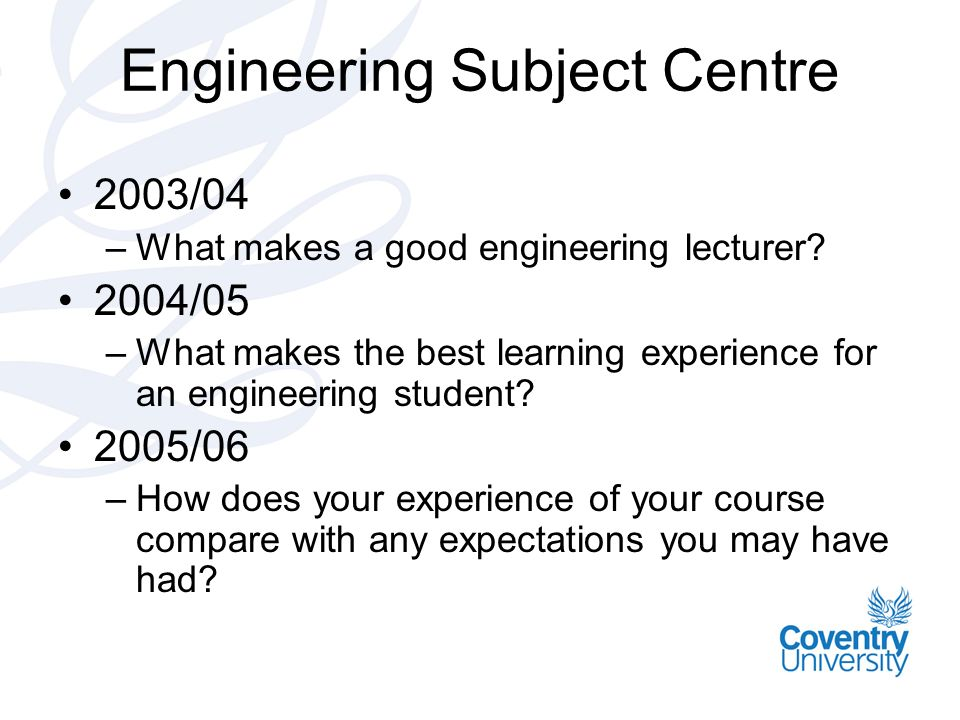 Engineering Subject Centre 2003/04 –What makes a good engineering lecturer? 2004/05 –What makes the best learning experience for an engineering studen