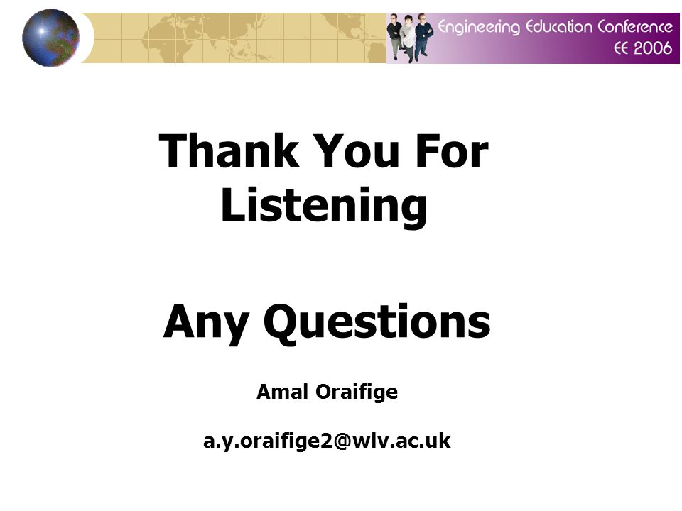 Thank You For Listening Any Questions Amal Oraifige a.y.oraifige2@wlv.ac.uk