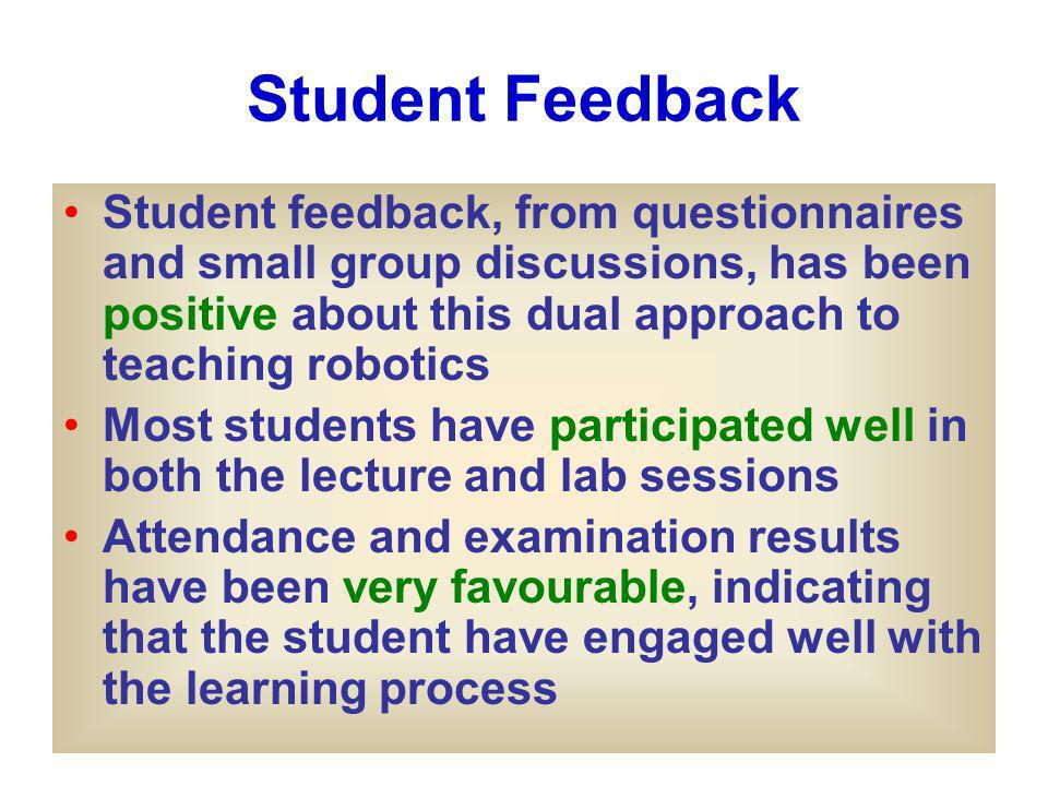 Student Feedback Student feedback, from questionnaires and small group discussions, has been positive about this dual approach to teaching robotics Most students have participated well in both the lecture and lab sessions Attendance and examination results have been very favourable, indicating that the student have engaged well with the learning process