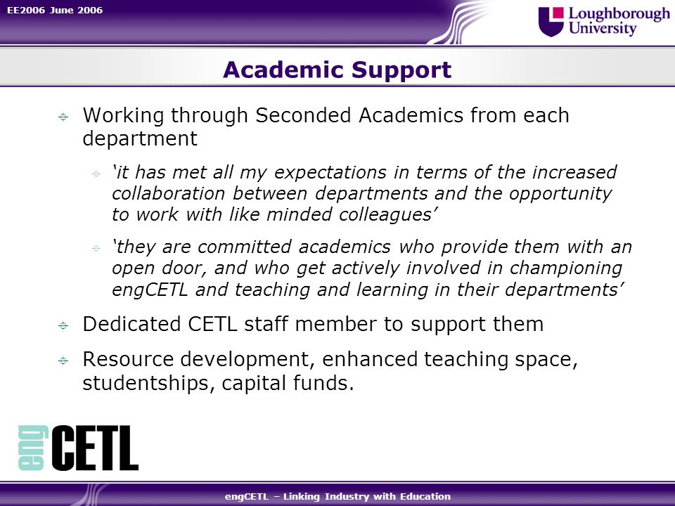 EE2006 June 2006 engCETL – Linking Industry with Education Academic Support Working through Seconded Academics from each department it has met all my