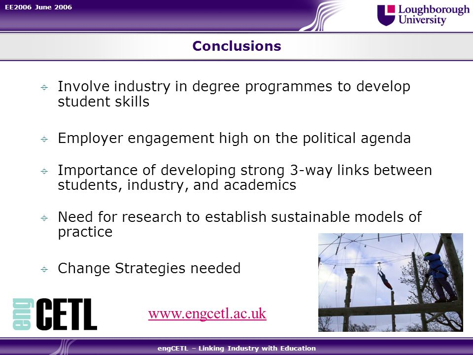 EE2006 June 2006 engCETL – Linking Industry with Education Conclusions Involve industry in degree programmes to develop student skills Employer engagement high on the political agenda Importance of developing strong 3-way links between students, industry, and academics Need for research to establish sustainable models of practice Change Strategies needed www.engcetl.ac.uk