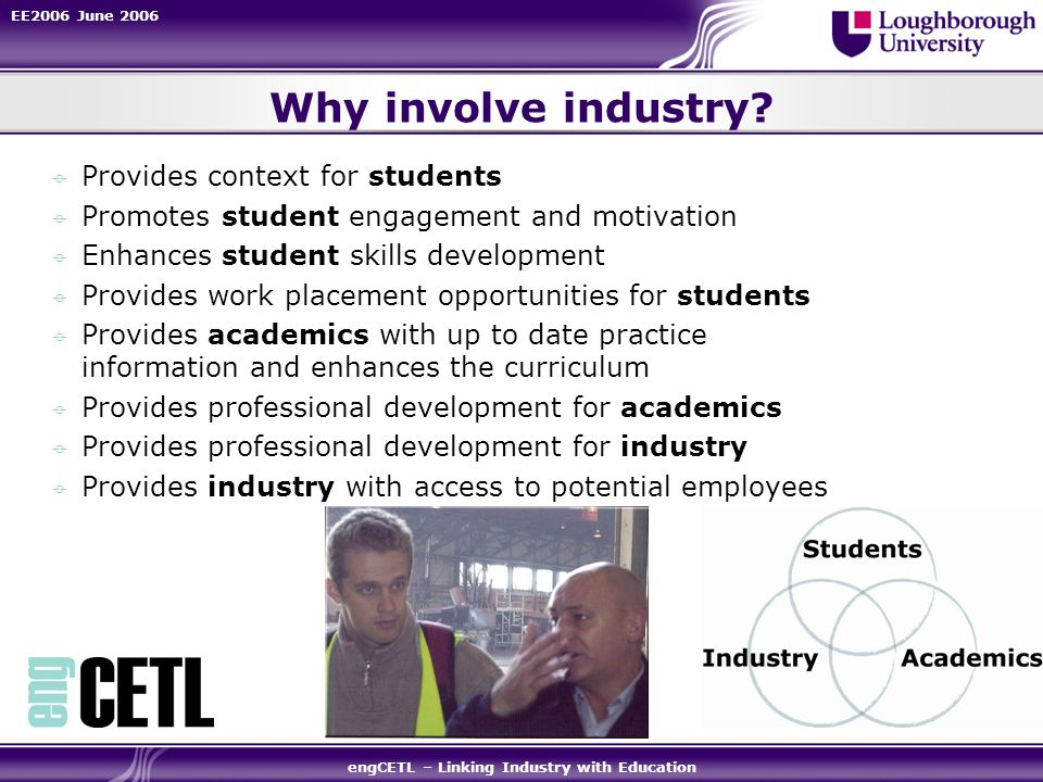 EE2006 June 2006 engCETL – Linking Industry with Education Why involve industry? Provides context for students Promotes student engagement and motivat