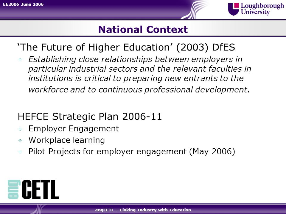 EE2006 June 2006 engCETL – Linking Industry with Education National Context The Future of Higher Education (2003) DfES Establishing close relationship
