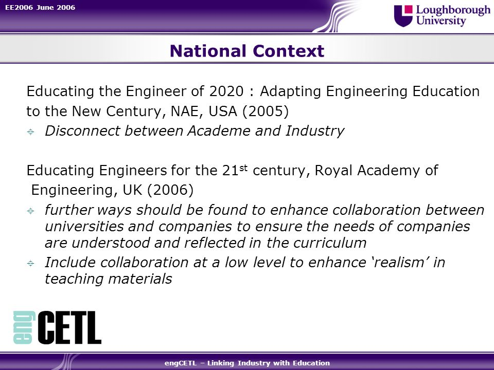 EE2006 June 2006 engCETL – Linking Industry with Education National Context Educating the Engineer of 2020 : Adapting Engineering Education to the New Century, NAE, USA (2005) Disconnect between Academe and Industry Educating Engineers for the 21 st century, Royal Academy of Engineering, UK (2006) further ways should be found to enhance collaboration between universities and companies to ensure the needs of companies are understood and reflected in the curriculum Include collaboration at a low level to enhance realism in teaching materials