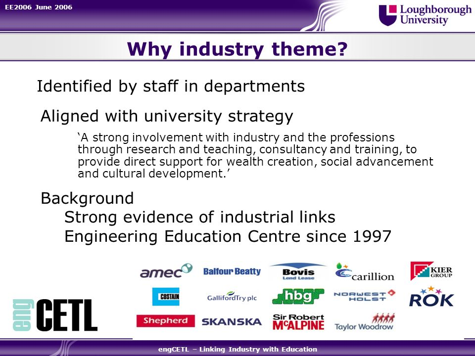 EE2006 June 2006 engCETL – Linking Industry with Education Why industry theme? A strong involvement with industry and the professions through research