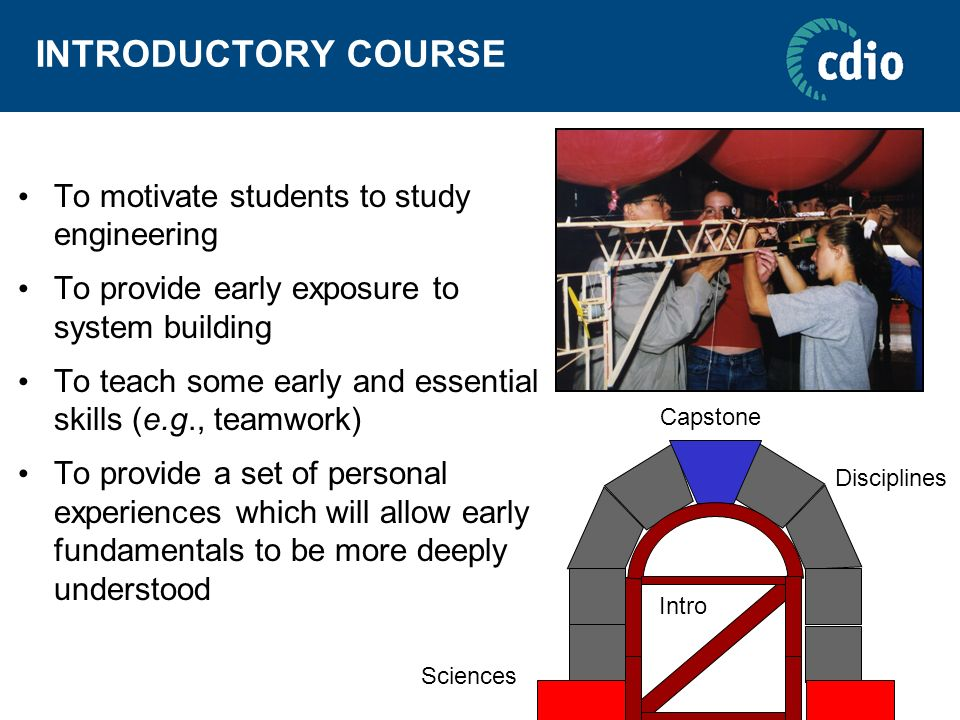 INTRODUCTORY COURSE To motivate students to study engineering To provide early exposure to system building To teach some early and essential skills (e