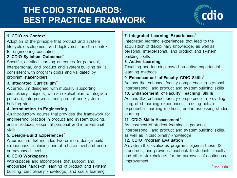 THE CDIO STANDARDS: BEST PRACTICE FRAMWORK 1. CDIO as Context * Adoption of the principle that product and system lifecycle development and deployment