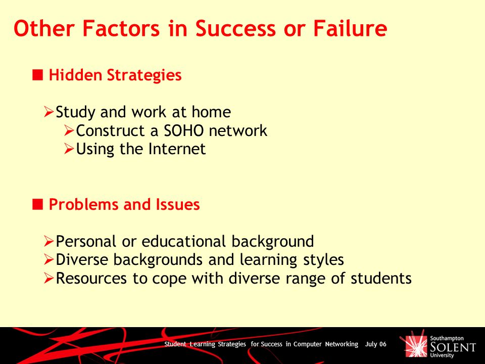 Student Learning Strategies for Success in Computer Networking July 06 Other Factors in Success or Failure Hidden Strategies Study and work at home Co